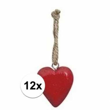 Afgeprijsde 12x rode hart hanger 5 cm