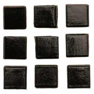 Afgeprijsde 140 stuks vierkante mozaieksteentjes zwart 1 cm