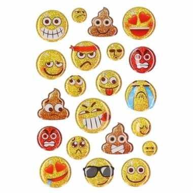 Afgeprijsde 15x glitter 3d smiley stickers op vel