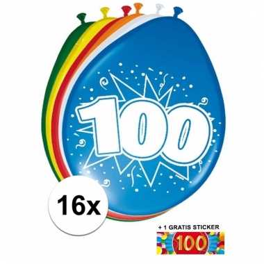 Afgeprijsde 16 party ballonnen 100 jaar opdruk sticker