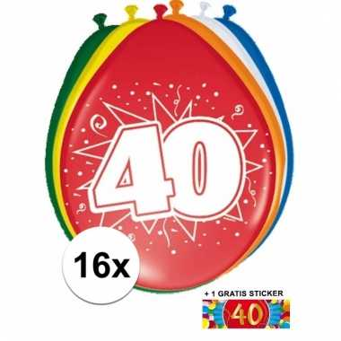 Afgeprijsde 16 party ballonnen 40 jaar opdruk sticker