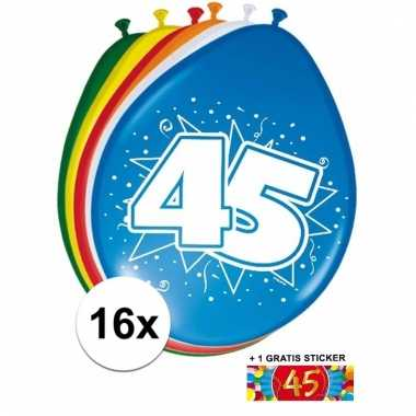 Afgeprijsde 16 party ballonnen 45 jaar opdruk + sticker