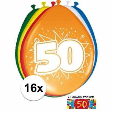 Afgeprijsde 16 party ballonnen 50 jaar opdruk + sticker