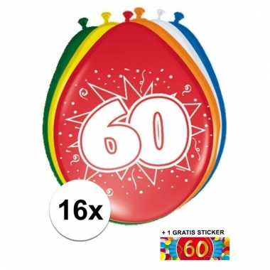 Afgeprijsde 16 party ballonnen 60 jaar opdruk sticker