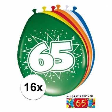 Afgeprijsde 16 party ballonnen 65 jaar opdruk sticker