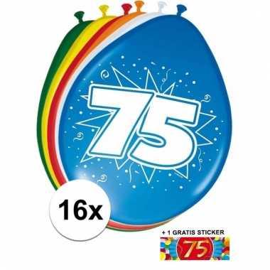 Afgeprijsde 16 party ballonnen 75 jaar opdruk + sticker