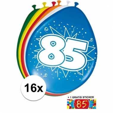 Afgeprijsde 16 party ballonnen 85 jaar opdruk + sticker
