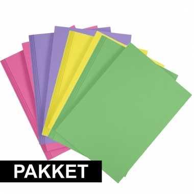 Afgeprijsde 16 stuks a4 hobby karton in 4 kleuren fuchsia roze/geel/g