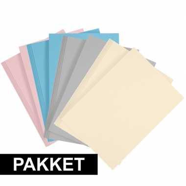 Afgeprijsde 16 stuks a4 hobby karton in 4 kleuren lichtblauw/grijs/li