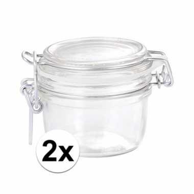 Afgeprijsde 2 glazen keukenpotten 125 ml