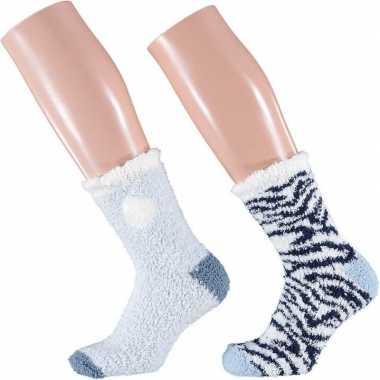 Afgeprijsde 2-pack warme huissokken zebra blauw/wit voor dames