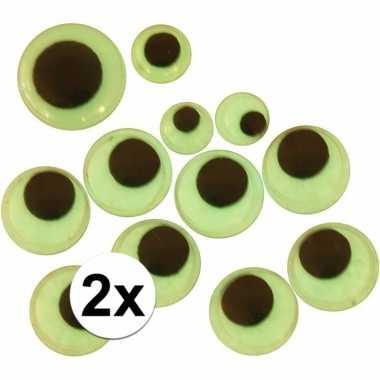 Afgeprijsde 2 stuks wiebelende sticker oogjes glow in the dark 30 stu
