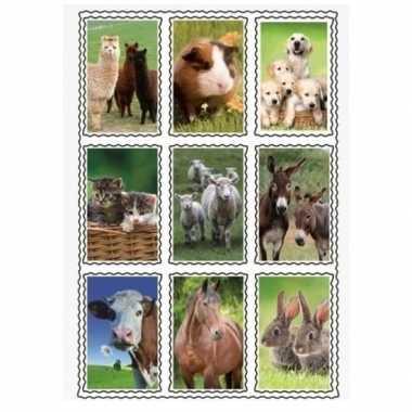 Afgeprijsde 2 vellen van 3d kinder stickers boerderijdieren 9 stuks p