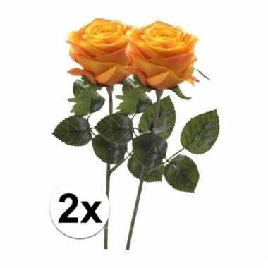 Afgeprijsde 2 x geel/oranje roos simone 45 cm kunstplant steelbloem