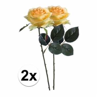 Afgeprijsde 2 x gele roos simone 45 cm kunstplant steelbloem