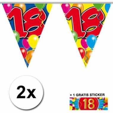 Afgeprijsde 2 x leeftijd vlaggenlijnen 18 jaar met sticker