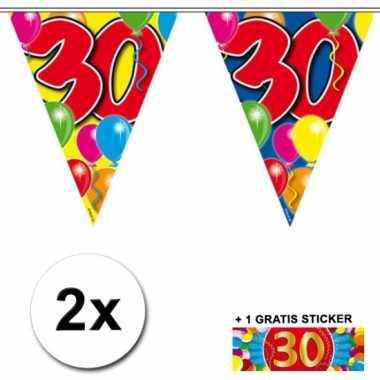 Afgeprijsde 2 x leeftijd vlaggenlijnen 30 jaar met sticker