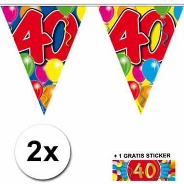 Afgeprijsde 2 x leeftijd vlaggenlijnen 40 jaar met sticker