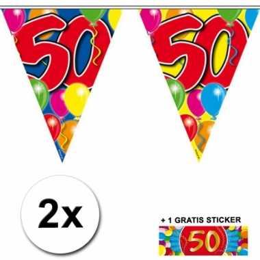 Afgeprijsde 2 x leeftijd vlaggenlijnen 50 jaar met sticker