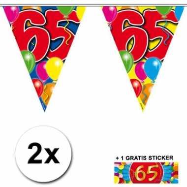 Afgeprijsde 2 x leeftijd vlaggenlijnen 65 jaar met sticker