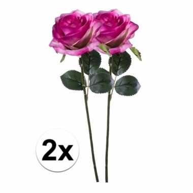 Afgeprijsde 2 x paars/roze roos simone 45 cm kunstplant steelbloem