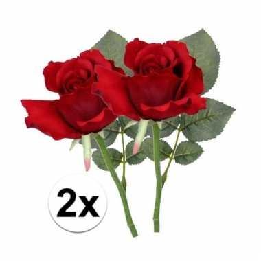 Afgeprijsde 2 x rode roos 30 cm kunstplant steelbloem