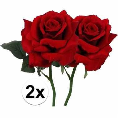 Afgeprijsde 2 x rode roos deluxe 31 cm kunstplant steelbloem