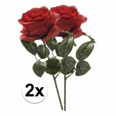 Afgeprijsde 2 x rode roos simone 45 cm kunstplant steelbloem