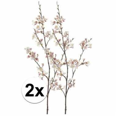 Afgeprijsde 2 x roze japanse kersenbloesem 105 cm kunstplant takken