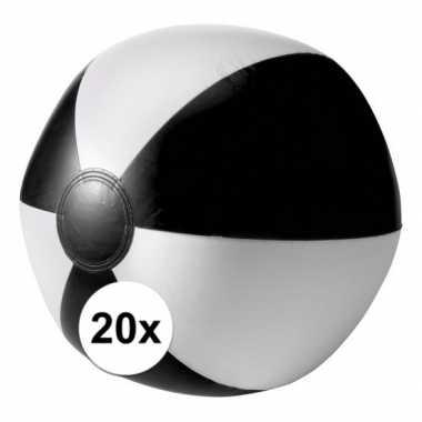 Afgeprijsde 20 opblaas strandballen zwart met wit