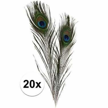 Afgeprijsde 20x decoratie veren van een pauw