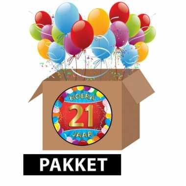 Afgeprijsde 21 jaar party artikelen pakket