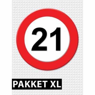 Afgeprijsde 21 jaar verkeersbord versiering xl pakket