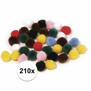 Afgeprijsde 210x decoratieve pompons 7mm kleurenassorti