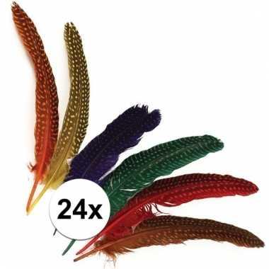 Afgeprijsde 24x gestipte veren in verschillende kleuren