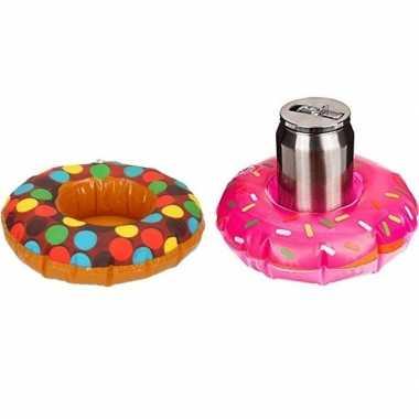 Afgeprijsde 2x feest opblaas donuts bruin/roze 18 cm bekerhouders voo