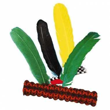 Afgeprijsde 2x hoofdbanden indiaan met veer