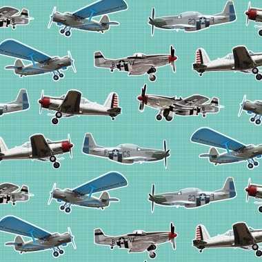 Afgeprijsde 2x inpakpapier/cadeaupapier vliegtuigen 200 x 70 cm mintg