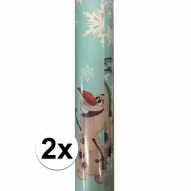 Afgeprijsde 2x kadopapier/cadeaupapier rol disney frozen olaf 200 x 7