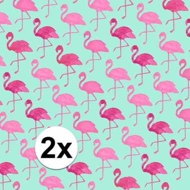 Afgeprijsde 2x kadopapier met flamingos type 2 70 x 200 cm