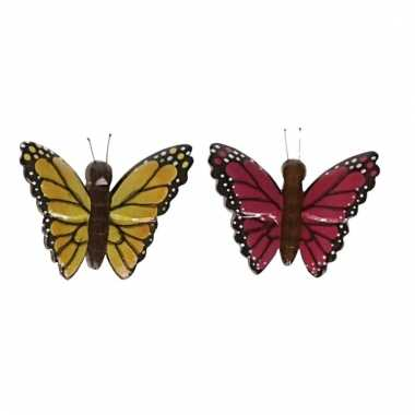 Afgeprijsde 2x magneet hout gele en roze vlinder