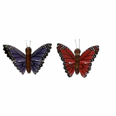 Afgeprijsde 2x magneet hout rode en paarse vlinder