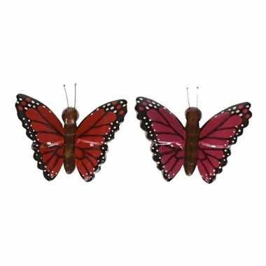 Afgeprijsde 2x magneet hout rode en roze vlinder
