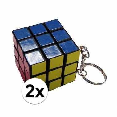 Afgeprijsde 2x mini kubus spelletjes 3 cm aan sleutelhanger