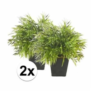 Afgeprijsde 2x nep bamboe plant groen in pot 25 cm kunstplant
