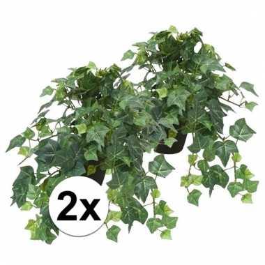 Afgeprijsde 2x nep klimop plant groen in zwarte pot kunstplant