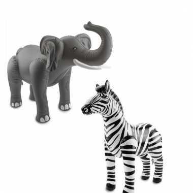 Afgeprijsde 2x opblaasbare wilde dieren olifant en zebra