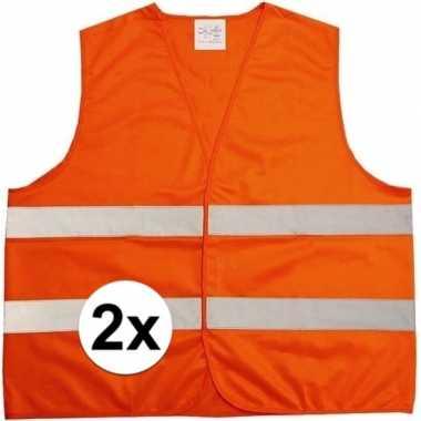 Afgeprijsde 2x oranje veiligheidsvest voor volwassenen