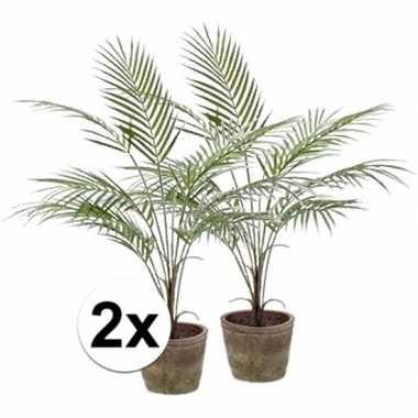 Afgeprijsde 2x palmboom nep 70 cm groen in pot