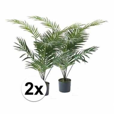 Afgeprijsde 2x palmboom nep 90 cm groen in pot